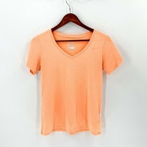 Nike Orange V Neck Short Sleeve Tee